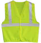 Vest, Lime Yellow Solid Fabric,  ANSI Class 23M Scotchlite 8710 Silver Reflective, No Pockets