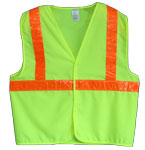 Vest, Lime Yellow Solid Fabric,  ANSI Class 23M Scotchlite 6196 Orange Reflective, No Pockets