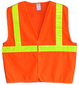 Vest, Fluor Orange Solid Fabric,  ANSI Class 23M Scotchlite 6187 Lime Yellow Reflective, No Pockets
