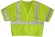 Vest, Lime Yellow Solid, ANSI Class 3, 3M Scotchlite 8710 Silver Reflective, No Pockets