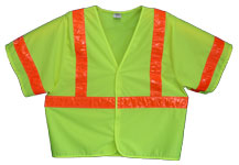 Vest, Lime Yellow Solid, ANSI Class 3, 3M Scotchlite 6196 Orange Reflective, Velcro Closure, No Pockets