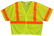 Vest, Lime Yellow Mesh, ANSI Class 3, 3M Scotchlite 6196 Orange Reflective, Velcro Closure, No Pockets