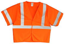 Vest, Fluor Orange Solid, ANSI Class 3, 3M Scotchlite 8710 Silver Reflective, Velcro Closure, No Pockets