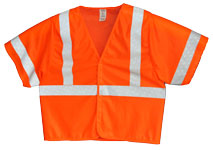 Vest, Fluor Orange Mesh, ANSI Class 3, 3M Scotchlite 8710 Silver Reflective, Velcro Closure, No Pockets
