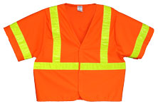 Vest, Fluor Orange Solid, ANSI Class 3, 3M Scotchlite 6187 Lime Yellow Reflective, Velcro Closure, No Pockets