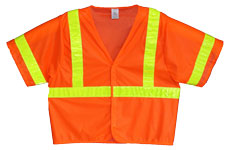 Vest, Fluor Orange Mesh, ANSI Class 3, 3M Scotchlite 6187 Lime Yellow Reflective, Velcro Closure, No Pockets